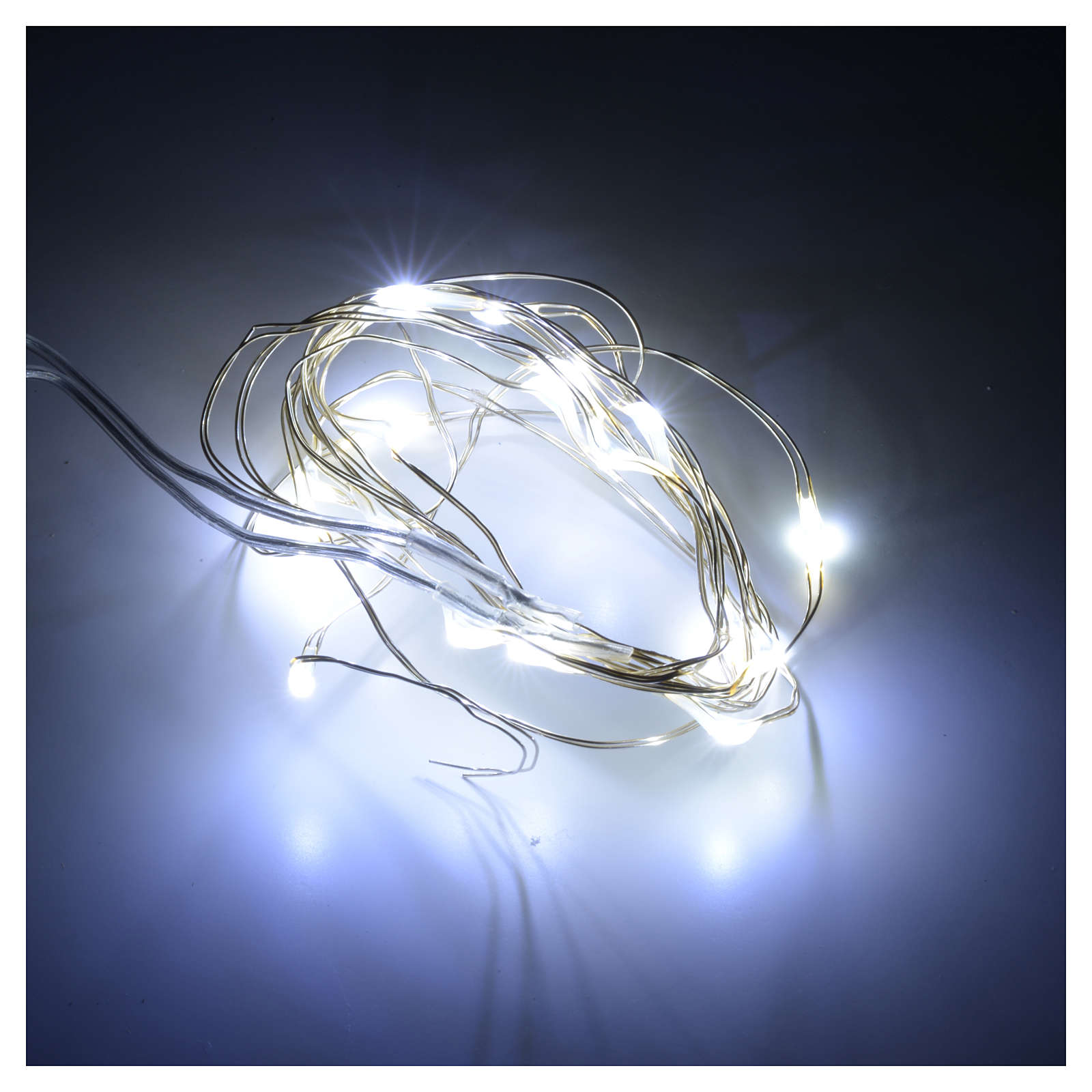 Christmas lights 20 LED lights, bare wire, indoor use, batteries 3