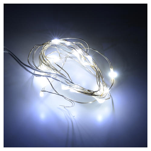 Christmas lights 20 LED lights, bare wire, indoor use, batteries 2