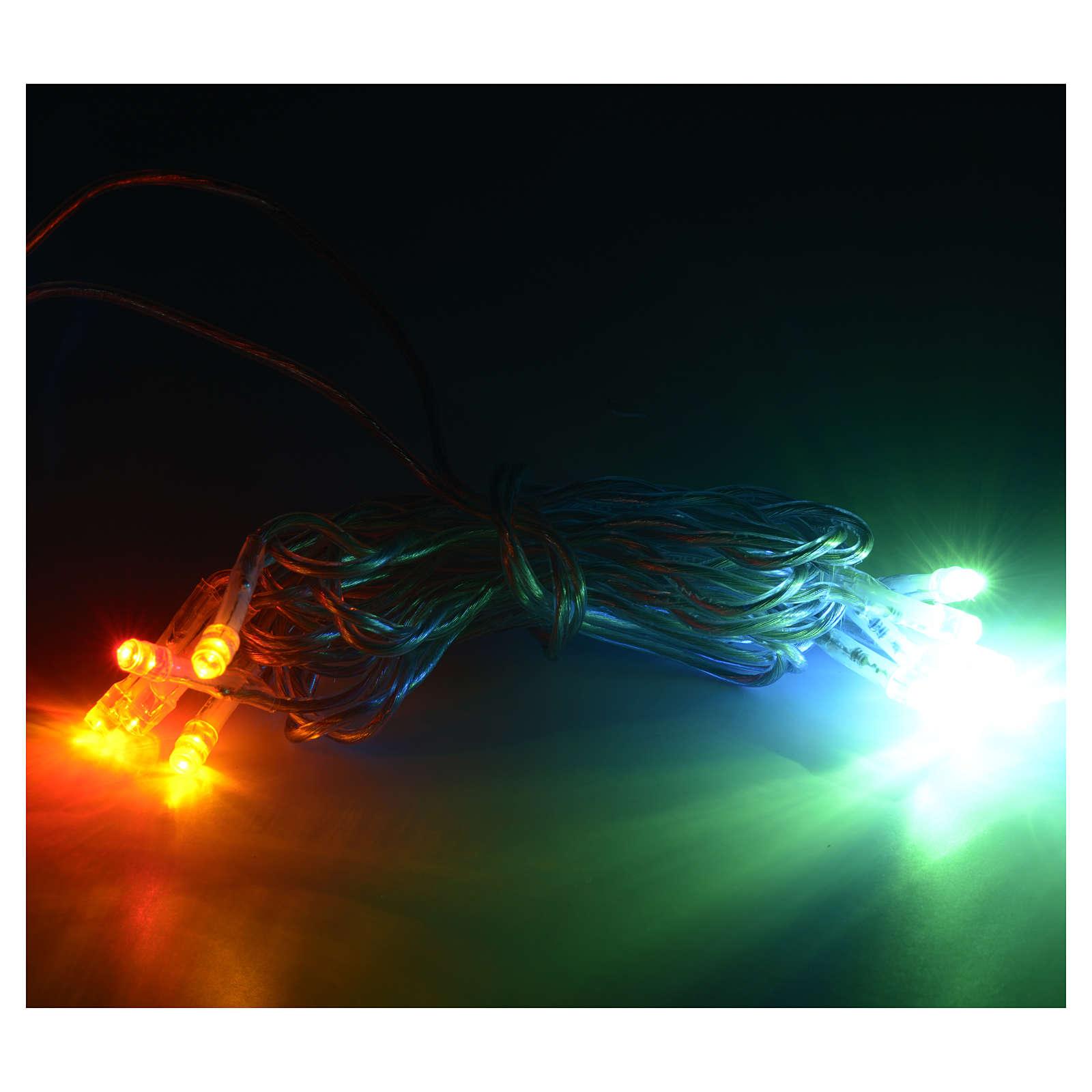 Luz 10 LED Multicolor cable transparente 3