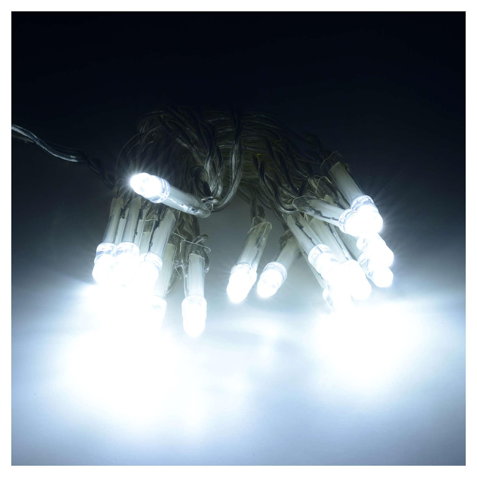 Luci di natale 20 led bianco ghiaccio batteria per interni for Luci led per interni