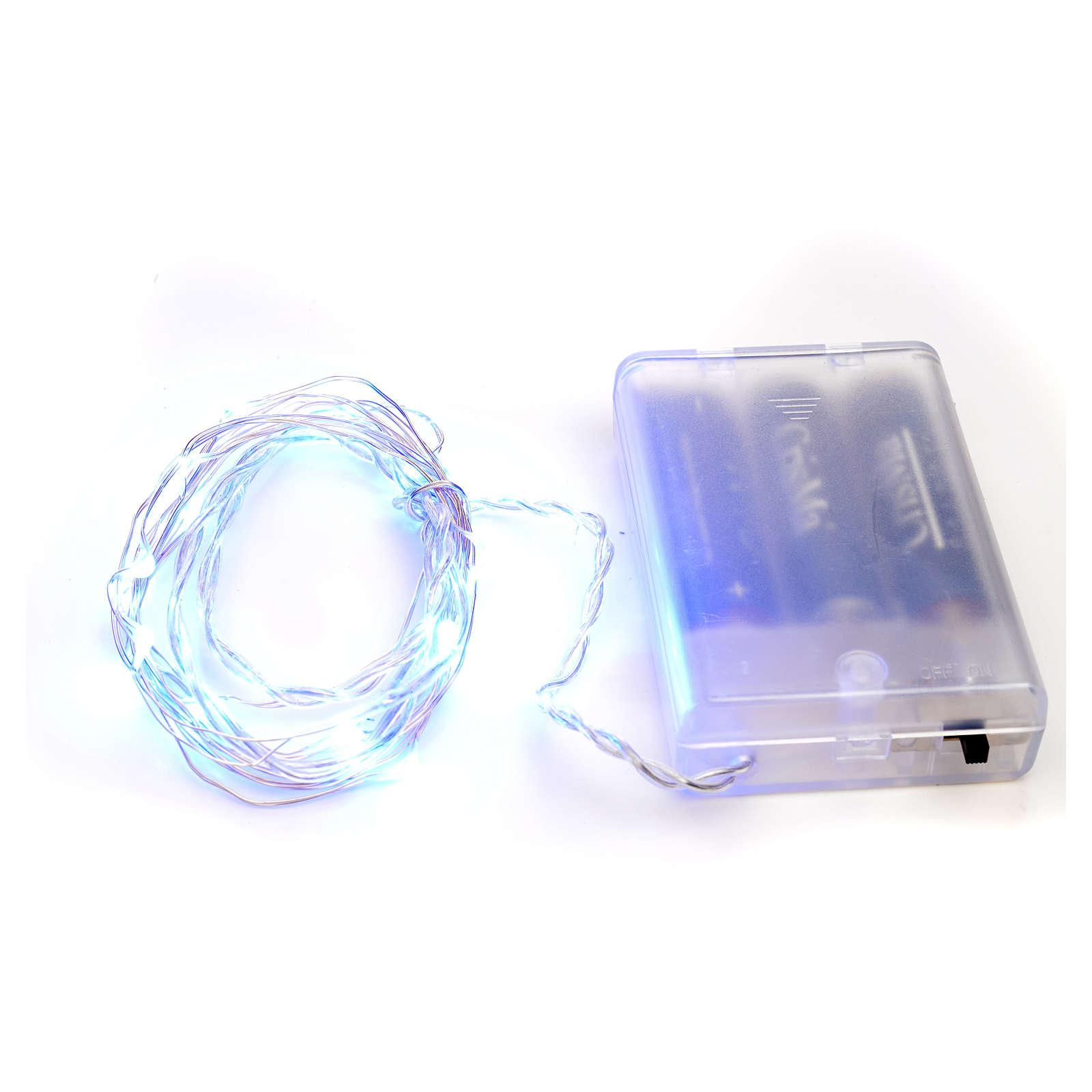 Luces de Navidad para interior, 20 LED azules, cable desnudo 3