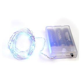 Luces de Navidad para interior, 20 LED azules, cable desnudo s1