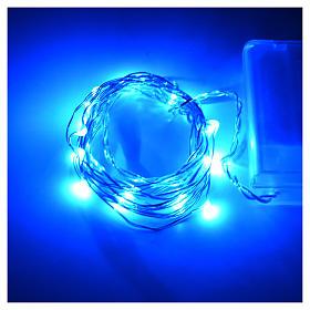 Luces de Navidad para interior, 20 LED azules, cable desnudo s2