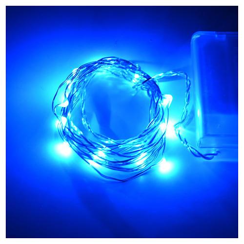 Luces de Navidad para interior, 20 LED azules, cable desnudo 2