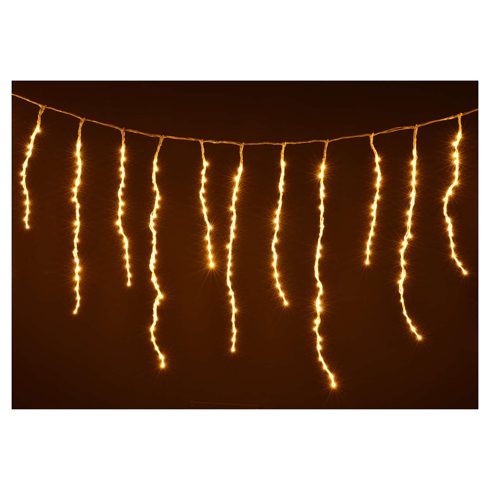 Luci di Natale tenda ghiaccioli 576 led bianco caldo esterno 3