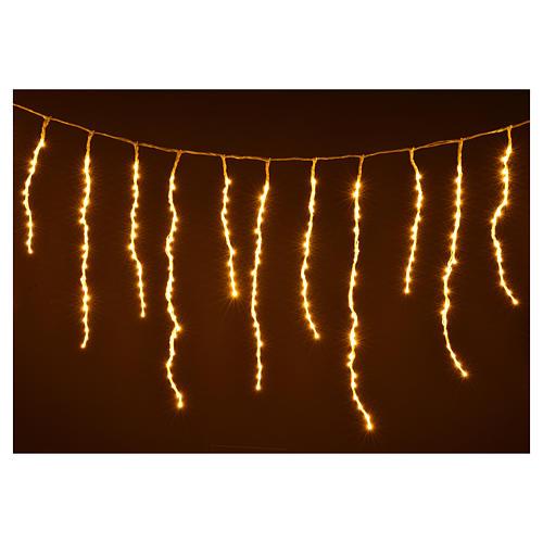 Luci di Natale tenda ghiaccioli 576 led bianco caldo esterno 4