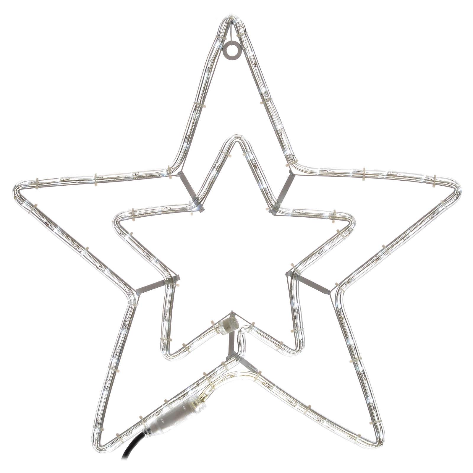 Étoile lumineuse double extérieur blanc glace 3