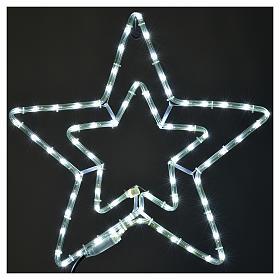 Étoile lumineuse double extérieur blanc glace s2