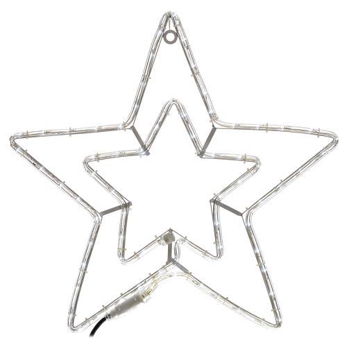 Étoile lumineuse double extérieur blanc glace 1
