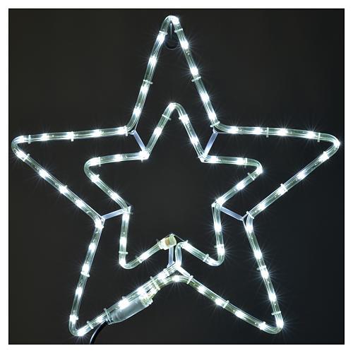 Étoile lumineuse double extérieur blanc glace 2