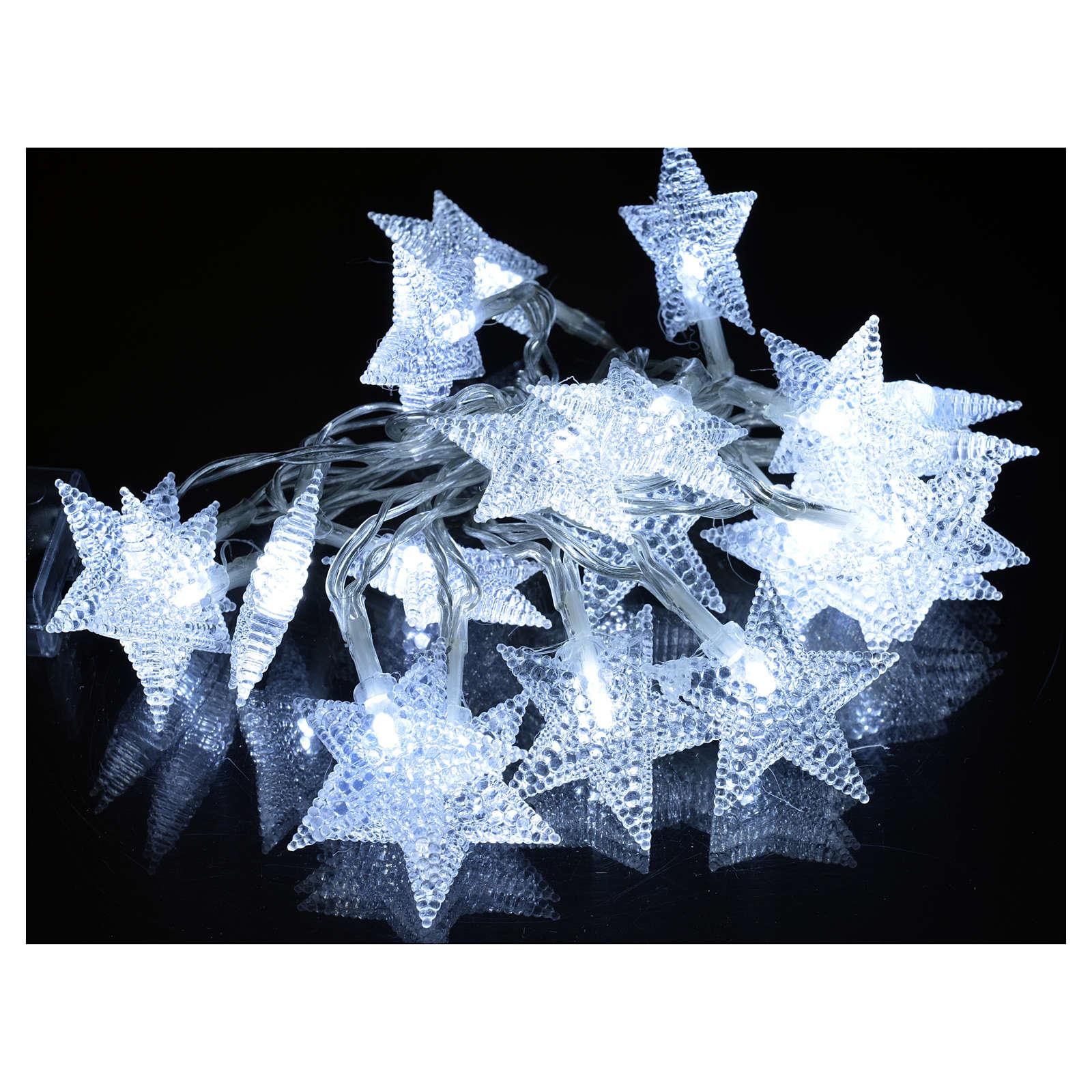 Luce natalizia 20 stelle led bianco ghiaccio interni 3