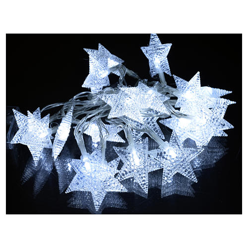 Luce natalizia 20 stelle led bianco ghiaccio interni 2
