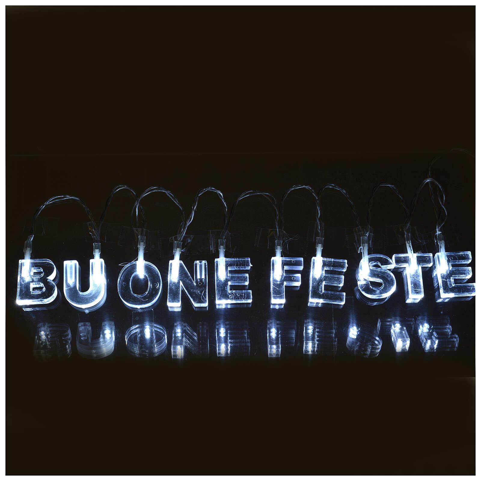 Indoor Christmas light, BUONE FESTE, ice white 3