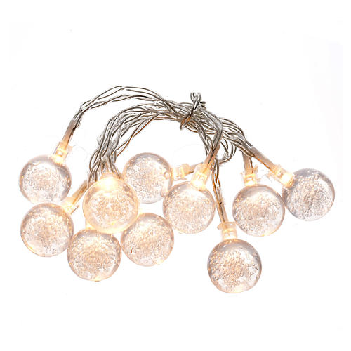 Christmas lights, 10 baubles warm white 1