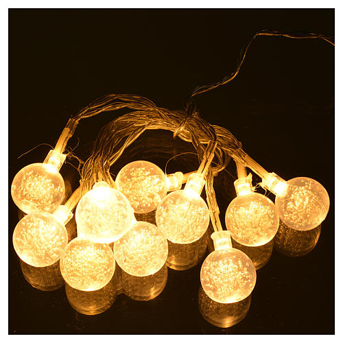 Christmas lights, 10 baubles warm white 2
