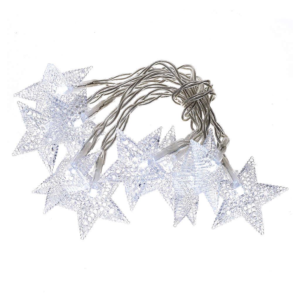 Illuminazione di Natale set 10 stelle led bianco ghiaccio 3