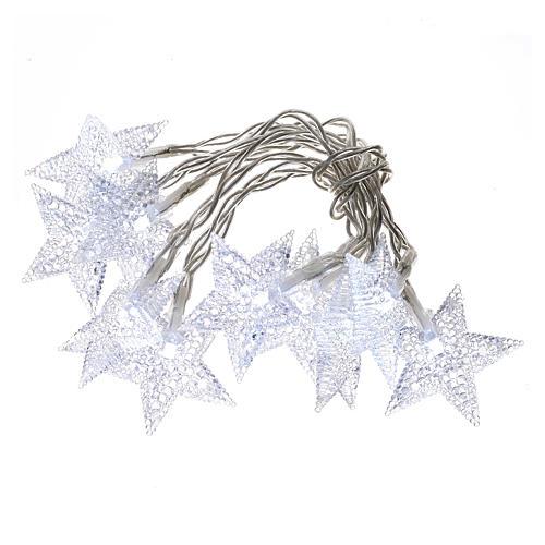 Illuminazione di Natale set 10 stelle led bianco ghiaccio 1