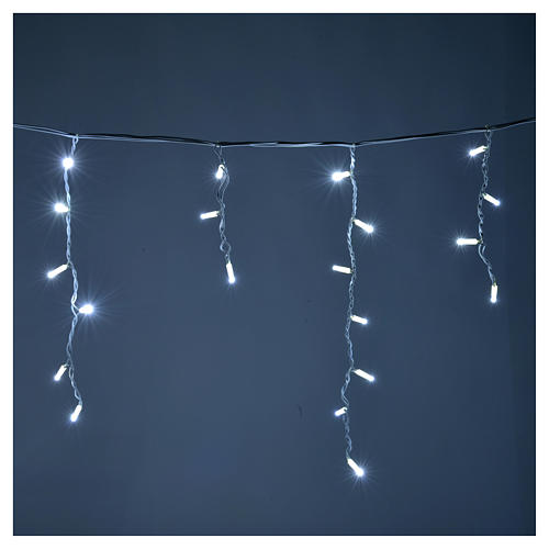Cortina de luces de Navidad 100 LED blanco hielo para exterior 2