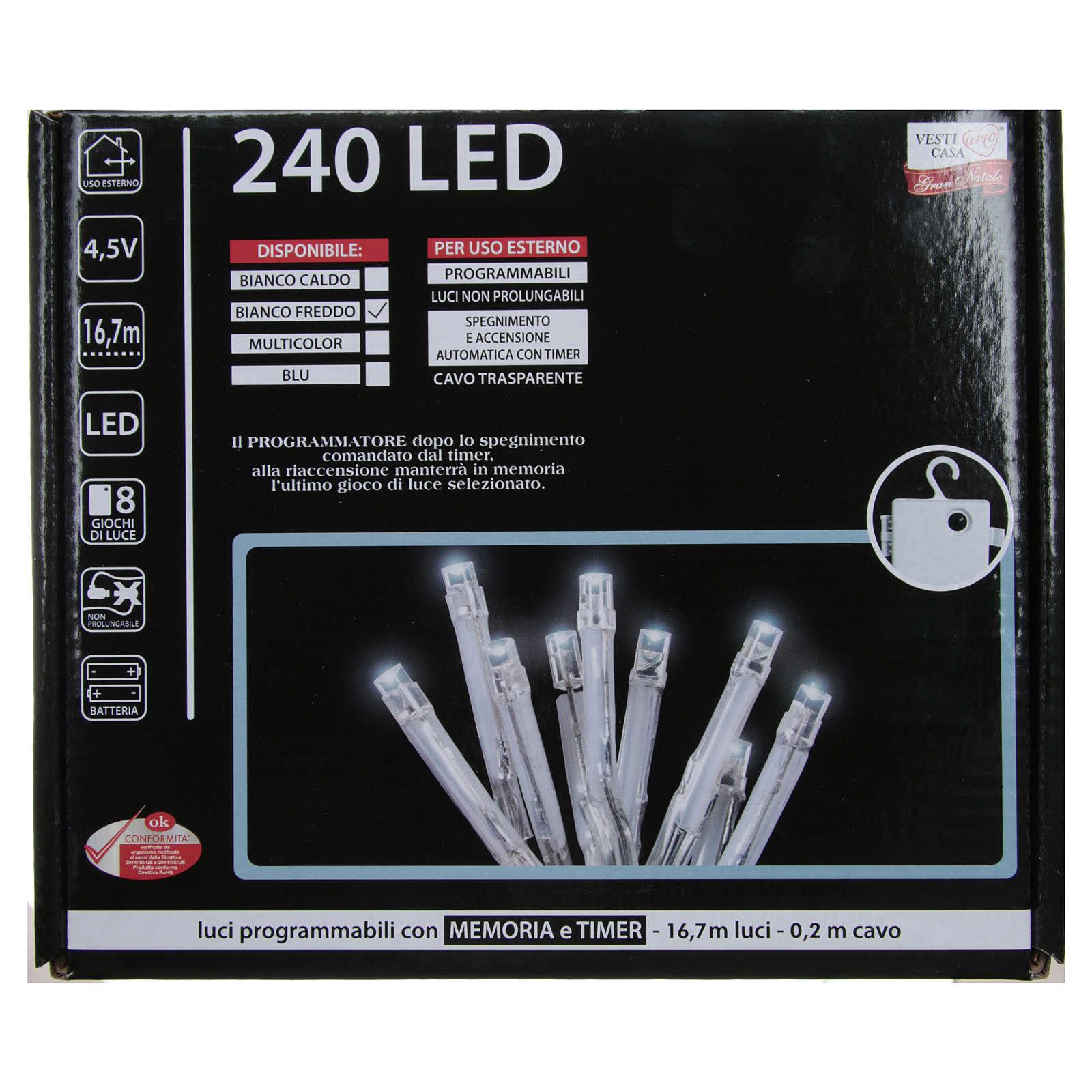 Éclairage Noël chaîne 240 LEDS blanc froid EXTÉRIEUR piles programmable 3