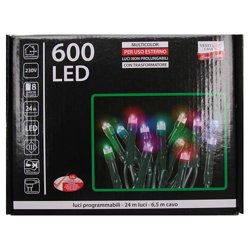 Éclairage Noël chaîne 600 LEDS multicolores EXTÉRIEUR programmable 4