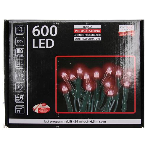 Luce Natale catena 600 LED rosse ESTERNO programmabili 4
