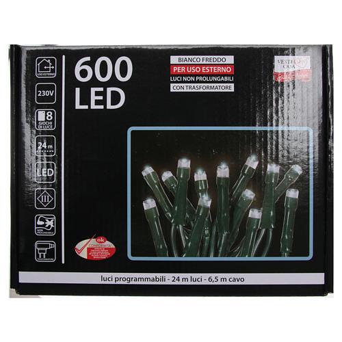 Éclairage Noël chaîne 600 LEDS blanc glace EXTÉRIEUR programmable 4