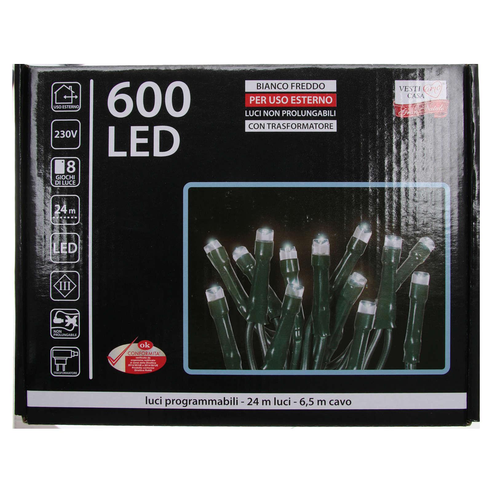 Luce Natale catena 600 LED bianco ghiaccio ESTERNO programmabili 3