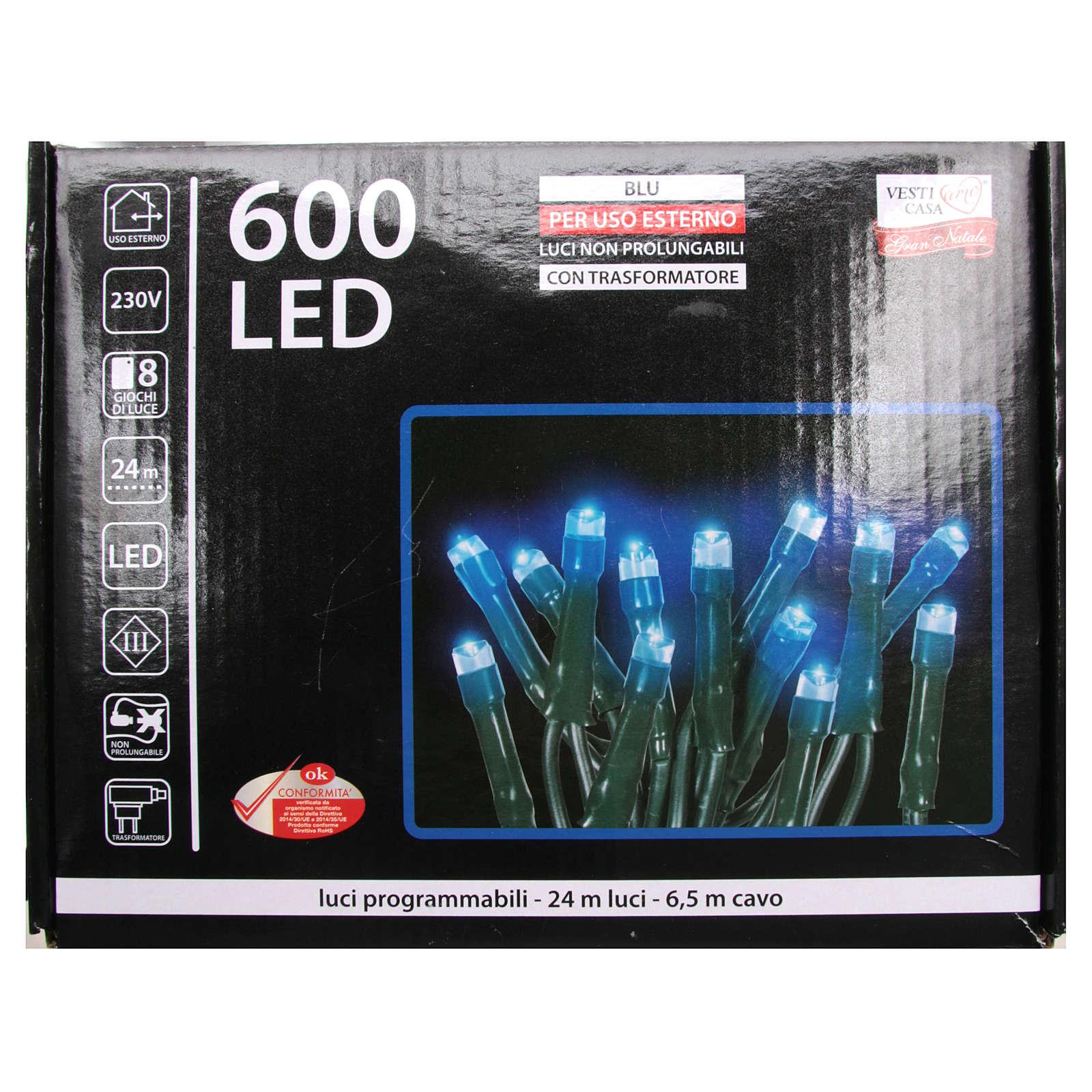 Luce Natale catena 600 LED blu ESTERNO programmabili 3