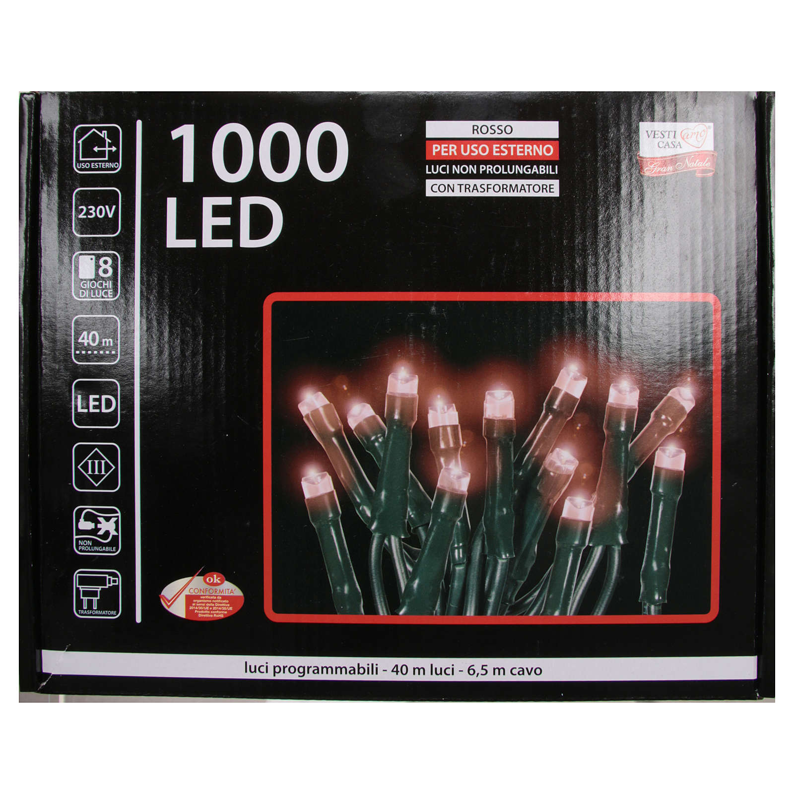 Éclairage Noël chaîne 1000 LEDS rouges EXTÉRIEUR programmable 3