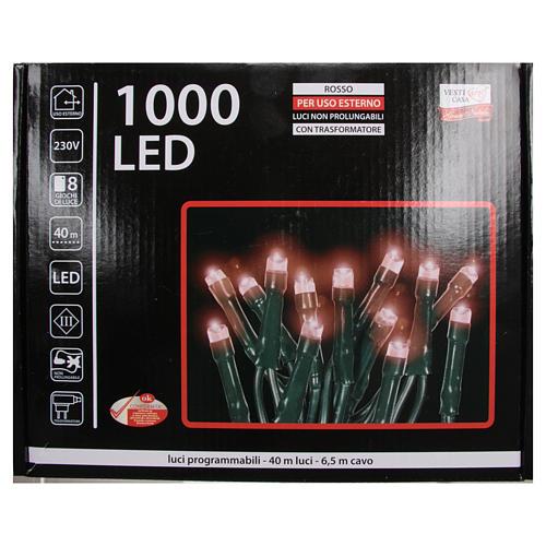 Éclairage Noël chaîne 1000 LEDS rouges EXTÉRIEUR programmable 4