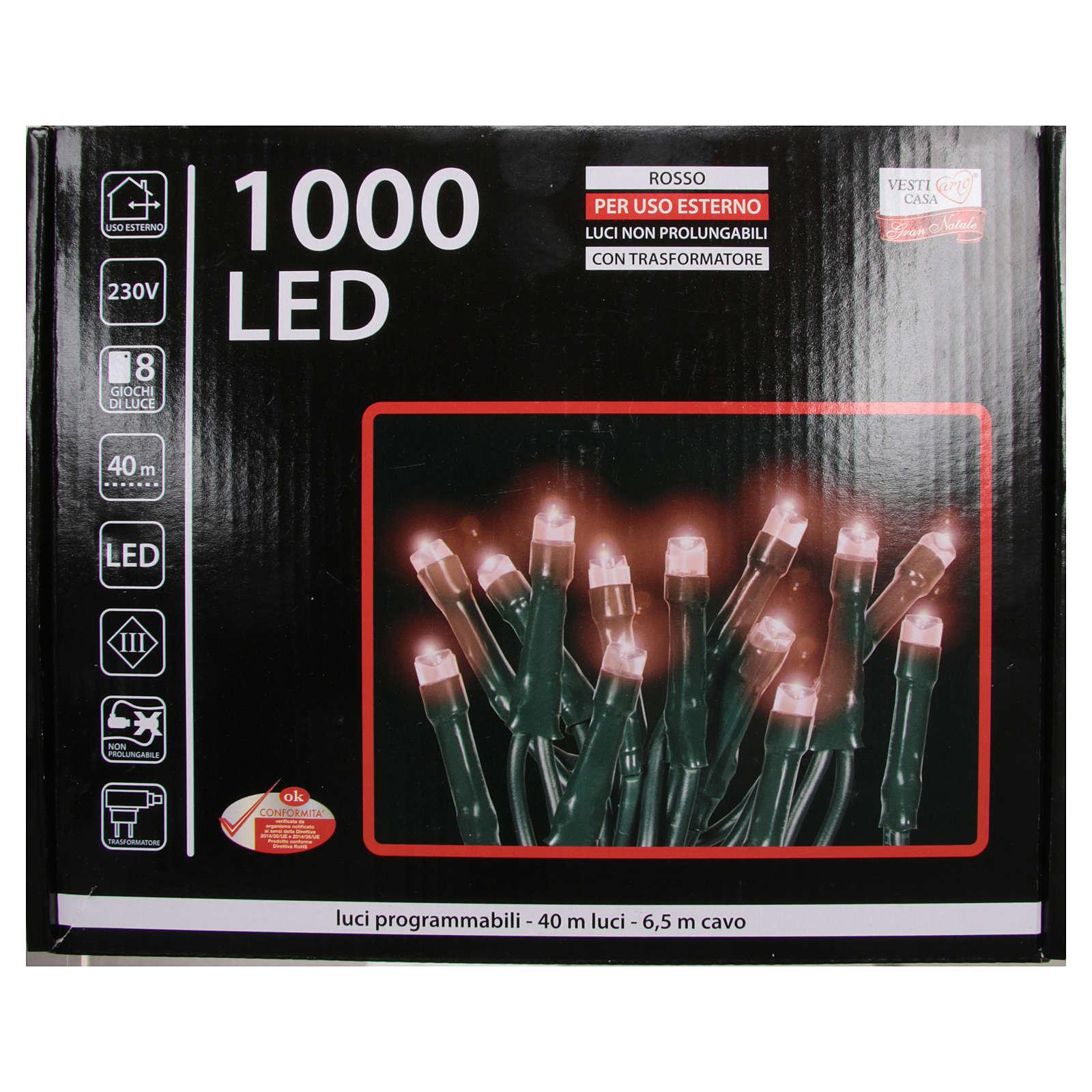 Luce Natale catena 1000 LED rosso ESTERNO programmabili 3