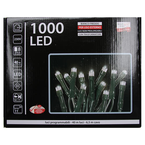 Cadena de luces de Navidad 1000 LED blanco hielo programables para exterior 4