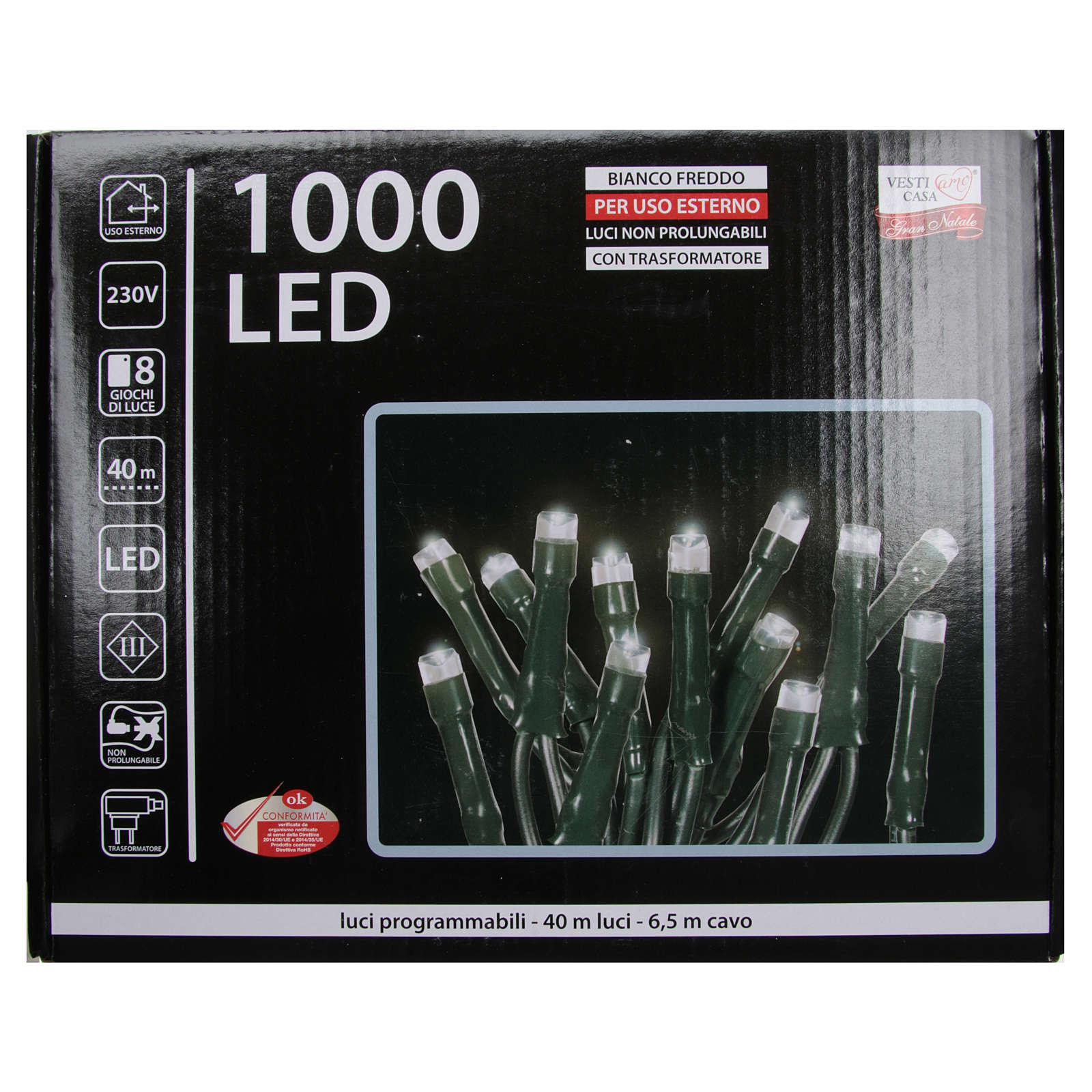 Luce Natale catena 1000 LED bianco ghiaccio ESTERNO programmabili 3