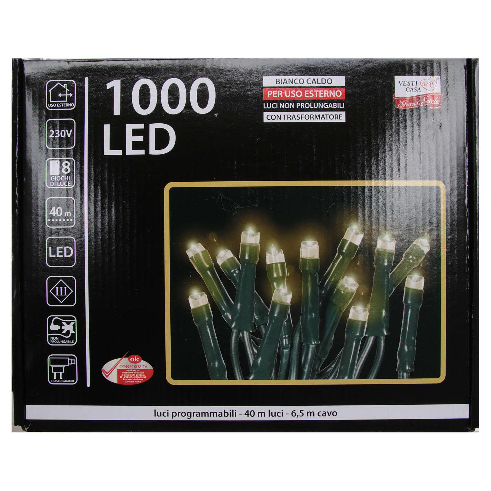 Luce Natale catena 1000 LED bianco caldo ESTERNO programmabili 3