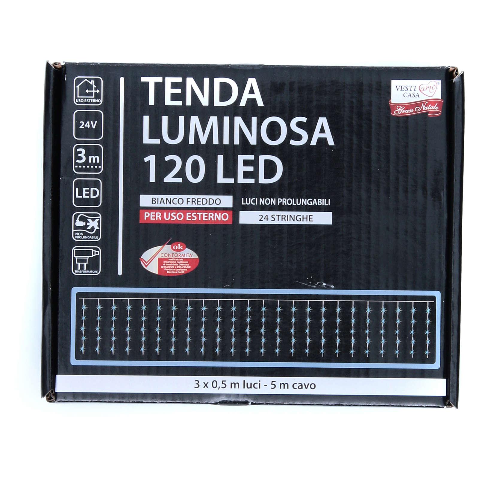 Cortina luminosa 120 LED blanco frío para exterior, funcionamiento con corriente 3