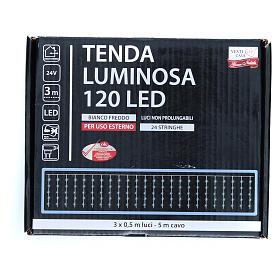 Cortina luminosa 120 LED blanco frío para exterior, funcionamiento con corriente s3
