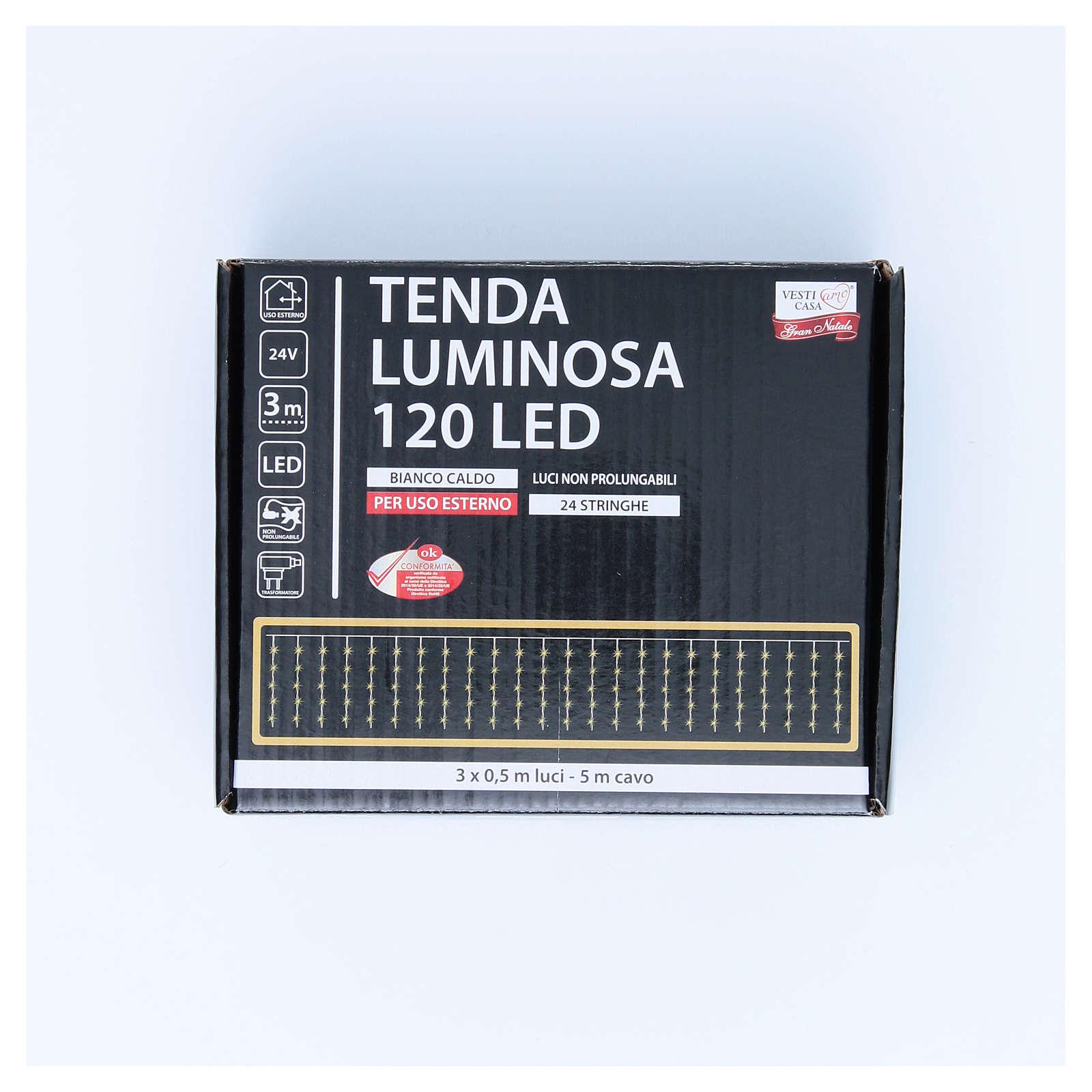 Cortina luminosa 120 LED blanco cálido para exterior, funcionamiento corriente 3