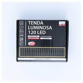 Cortina luminosa 120 LED blanco cálido para exterior, funcionamiento corriente s3