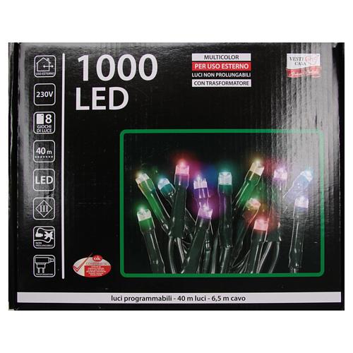 Éclairage Noël chaîne 1000 LEDS multicolores EXTÉRIEUR programmable 4