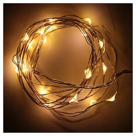 Luces de Navidad 20 LED tipo gota color blanco cálido con baterías y cable a vista s2