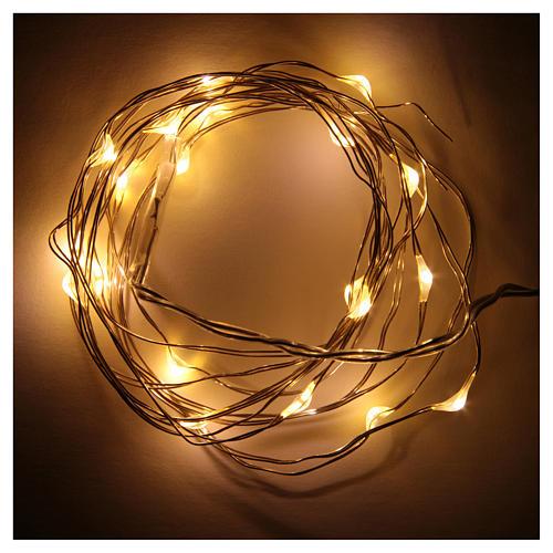 Luce natalizia 20 luci led goccia bianca calda batteria filo nudo 2