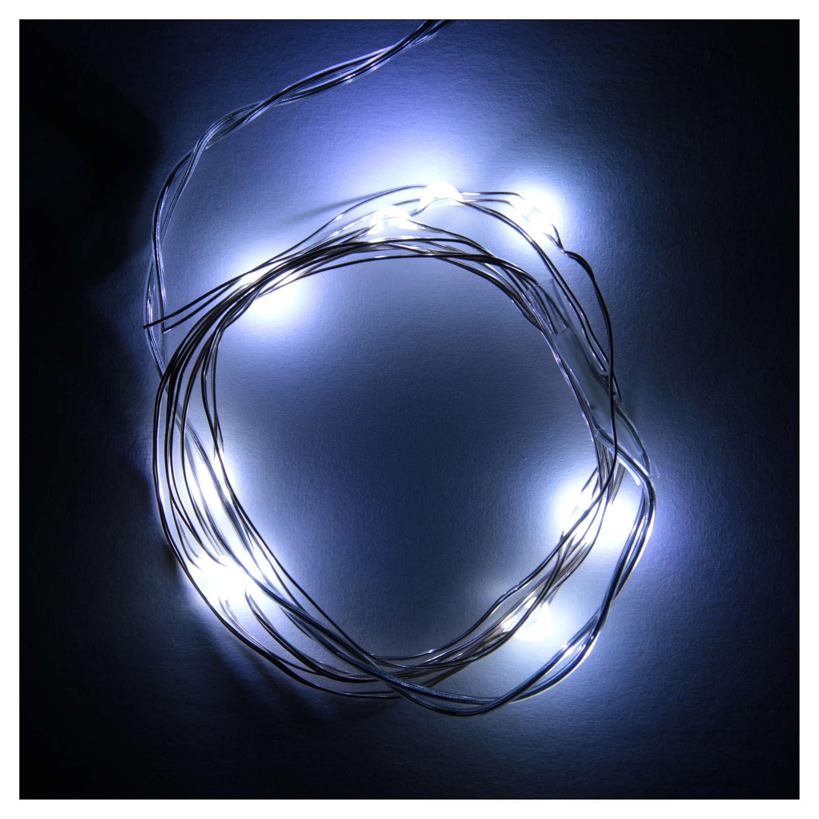 Światełka bożonarodzeniowe 10 led biały zimny kropla na baterie przewód przezroczysty 3