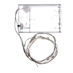 Światełka bożonarodzeniowe 10 led biały zimny kropla na baterie przewód przezroczysty s3