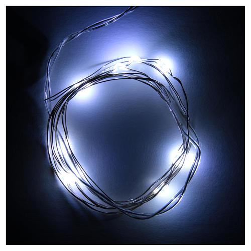 Światełka bożonarodzeniowe 10 led biały zimny kropla na baterie przewód przezroczysty 2