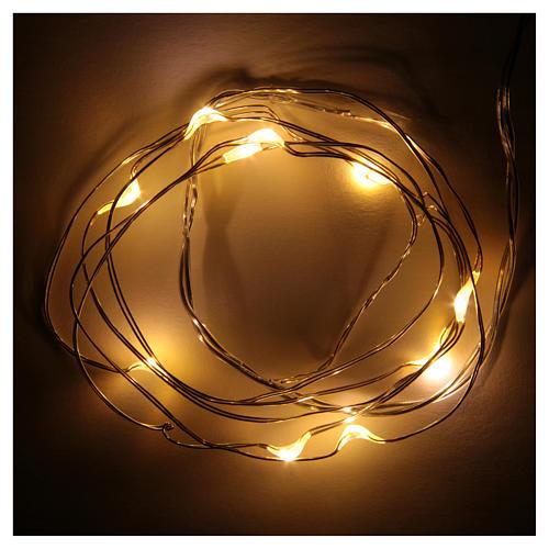 Światełka bożonarodzeniowe 10 led biały ciepły kropla na baterie przewód przezroczysty 2