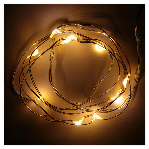 LED Christmas lights, 10 drop shaped, warm white and battery powered 1