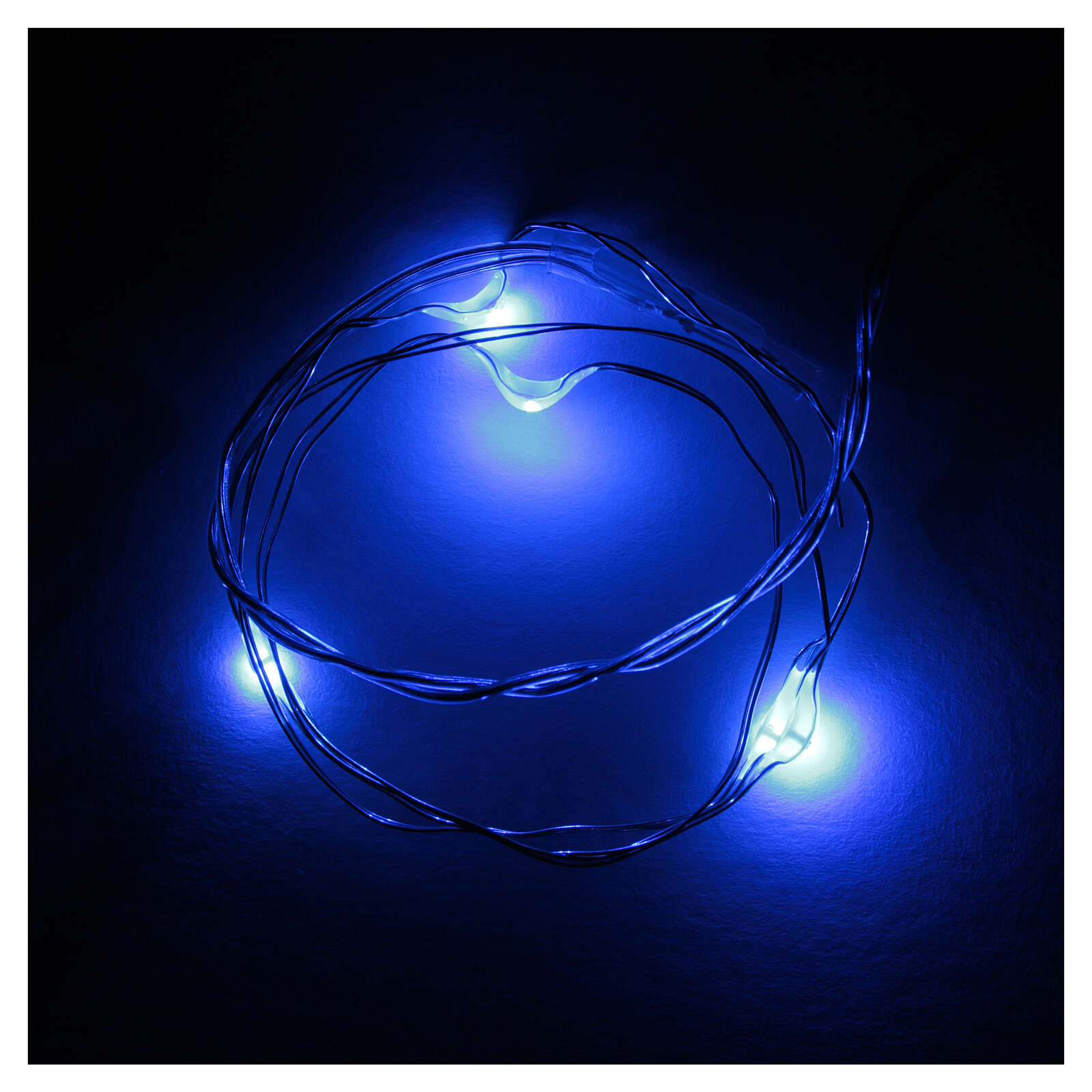 LED Christmas lights, 5 drop shaped, blue and battery powered 3