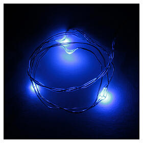 LED Christmas lights, 5 drop shaped, blue and battery powered s1