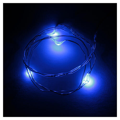 LED Christmas lights, 5 drop shaped, blue and battery powered 1