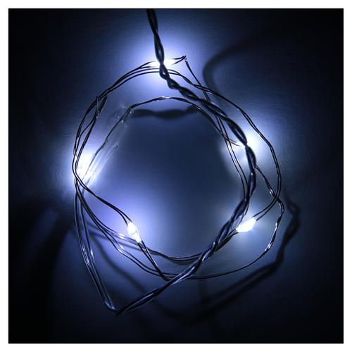 Luce di Natale 5 luci led a goccia bianca fredda a batteria filo nudo 2
